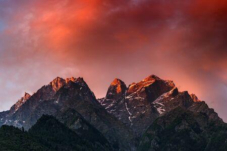 himalaya: beauty pink sunset on himalaya mountain