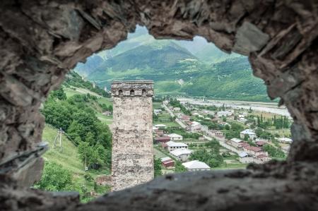 mestia: svaneti tower on caucasus mountain