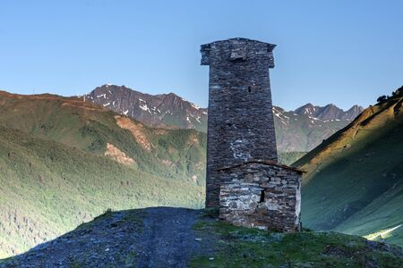 swanetia: svaneti tower on caucasus mountain