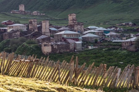 swanetia: old village on caucasus mountain