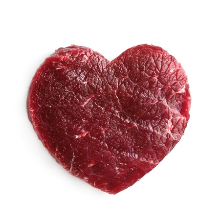 牛の心臓を白で隔離されます。 写真素材