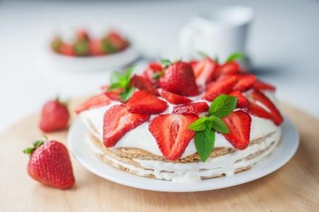 shortcake: strawberry cake with mint twig Stock Photo