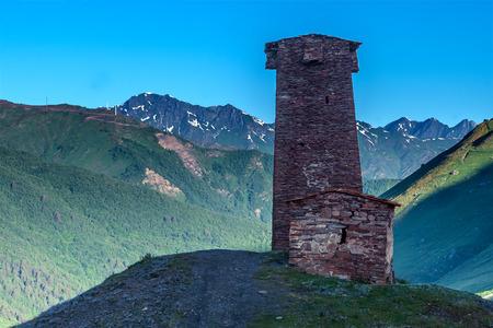 svaneti: svaneti tower on caucasus mountain