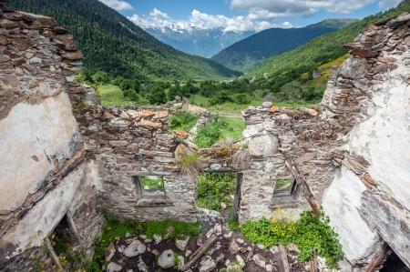 swanetia: old house on caucasus mountain