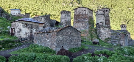 old village on caucasus mountain photo