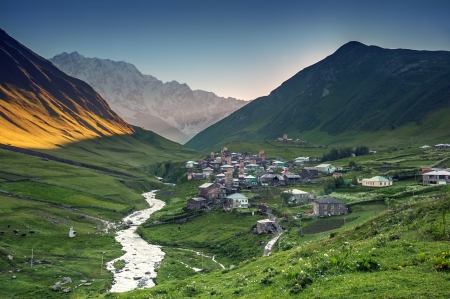 swanetia: old village on caucasus mountain