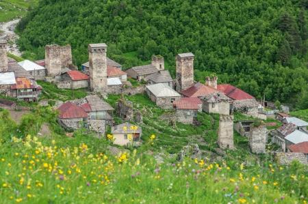 svaneti: old village on caucasus mountain