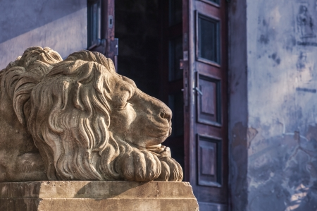 lemberg: Lion sculpture on Lviv city. Ukraine Stock Photo