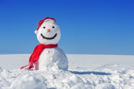 snowman: snowman on blue sky background