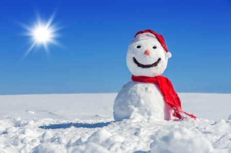 snowman on blue sky