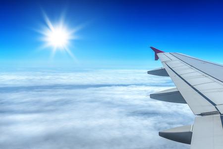 airplane window: view through airplane window Stock Photo