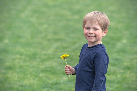 smiling child with yellow flower photo
