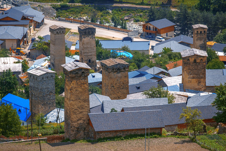 svan: svaneti tower on Mestia town