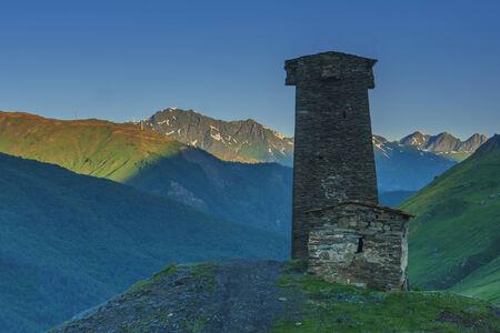 svan: svaneti tower on caucasus mountain