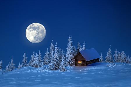 houten huis in de winter het bos