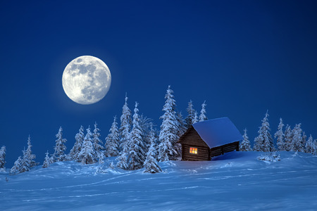 wooden house in winter forest photo