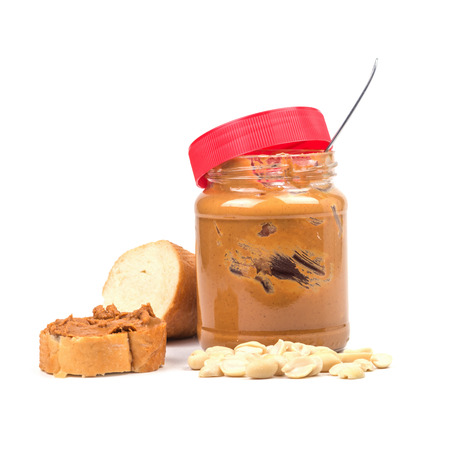 nut butter isolated on white photo