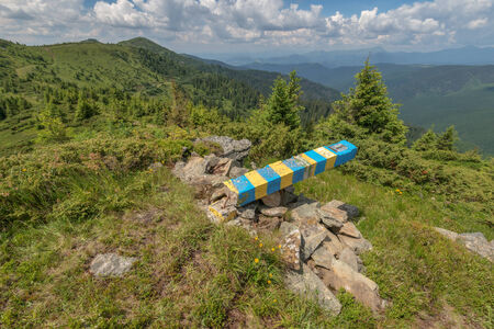 alpine zone: ukraine state border in mountain Stock Photo