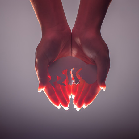 protection hands: embryo silhouette in woman hand Stock Photo