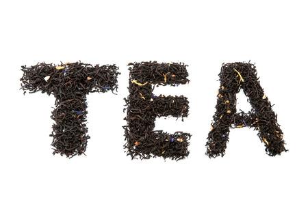 pekoe: word tea isolated on white Stock Photo