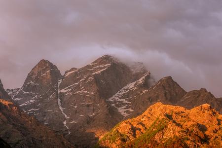 pink sunset: beauty pink sunset on himalaya mountain