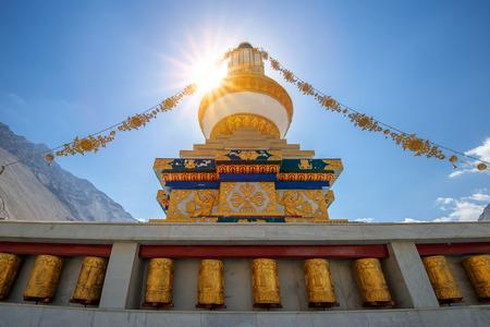 gompa: tibetan gompa in sunbeam light Stock Photo
