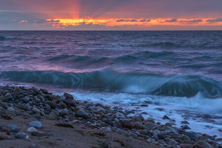 beach sunset: Sea beach on sunset time