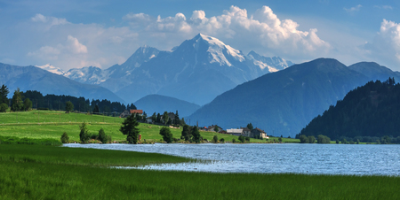 st valentin: Beautiful view of the lake Muta (Haidersee) and Ortler peak, located near the village St. Valentin, Alps, Italy, Europe.
