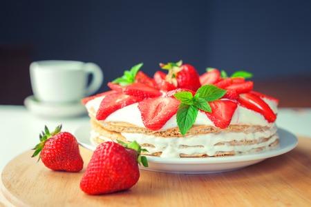 strawberry cake with mint twig Stockfoto