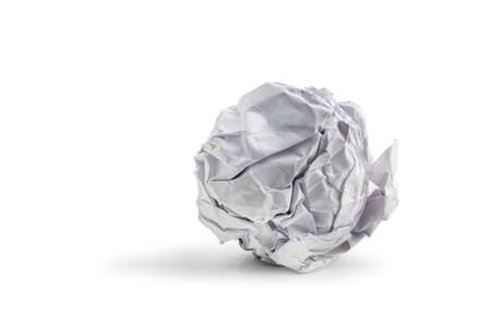 crumpled sheet: paper ball isolated on white