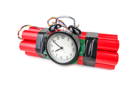 human time bomb: bomb with analog timer isolated Stock Photo
