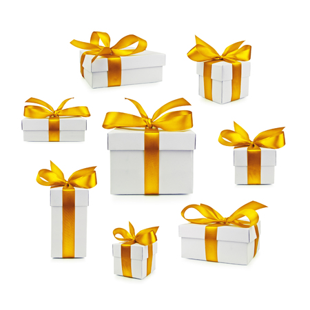 isolated  on white: set of gift box isolated Stock Photo