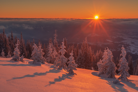 mountain sunset: Fantastic orange evening landscape glowing by sunlight. Dramatic wintry scene with snowy trees. Kukul ridge, Carpathians, Ukraine, Europe. Merry Christmas! Stock Photo