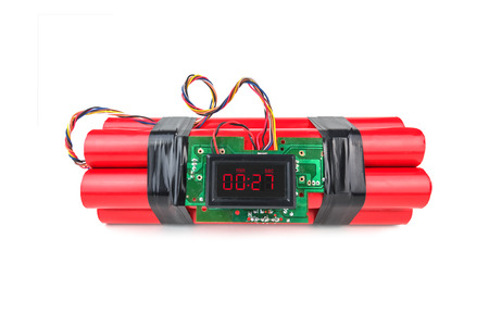 bomb: bomb with digital timer isolated