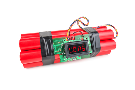 human time bomb: bomb with digital timer isolated