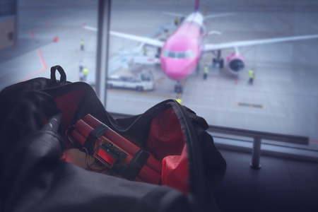 time bomb: bomb and bag in airport
