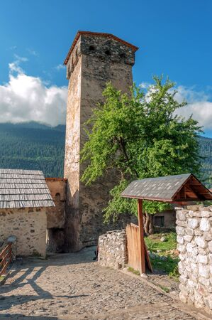 swanetia: old stone street on svaneti town Mestia Stock Photo