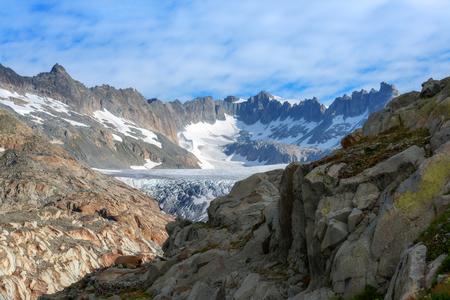 rhone: Rhone glacier in Swiss Alps in summer day. Switzerland, Europe.