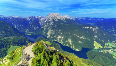 top mountain: Beautiful view from top of cableway above the Konigsee lake on Schneibstein mountain ridge. Border of German and Austrian Alps, Europe.