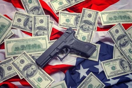 glock: gun, dollar and american flag