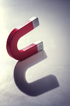 magnetite: red magnet concept close up Stock Photo