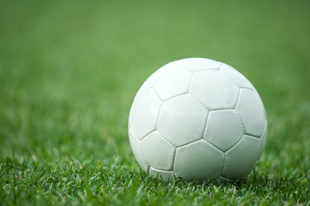 pelota de futbol: blanco balón de fútbol sobre la hierba verde