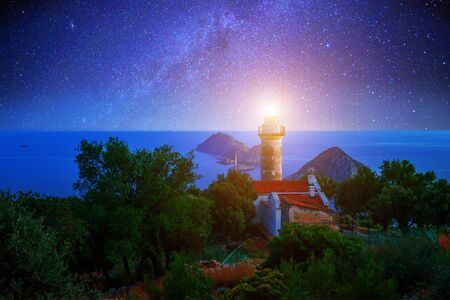 lighthouse at night: Lighthouse on Gelidonya cape in night time Stock Photo