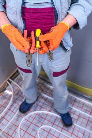 empleadas domesticas: Tools of electrician installing electricity system