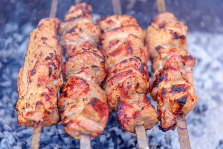 palatable: palatable barbecue fried in grill Stock Photo