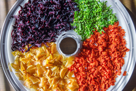 dried: dried vegetables on wood table Stock Photo