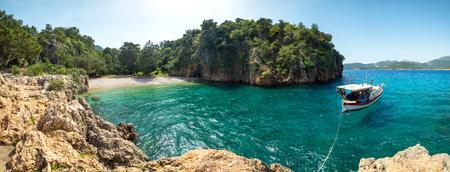 seashore: amazing lagoon with alone boat