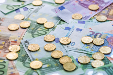 stack of papers: euro coins concept close up Stock Photo