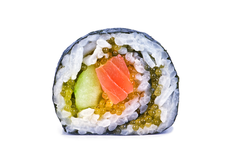 asian foods: sushi roll isolated on white
