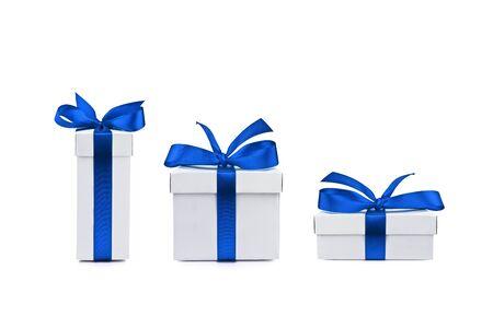 white ribbon: set of gift box isolated Stock Photo